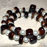 Memory Wire Bracelet With Chocolate Glass Beads Paired With White Glass Pearls