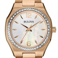 Bulova 98R205 Diamond Rose Goldtone Mother of Pearl Face Watch