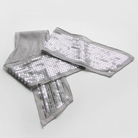 Vintage silver sequin scarf, spring fashion in gray