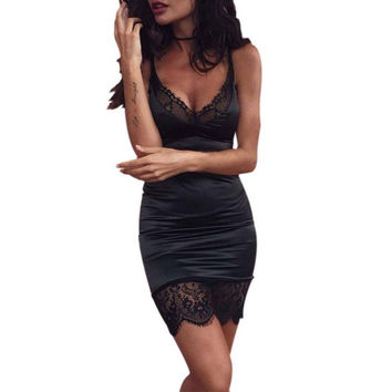 Summer Sexy V-Neck Dress Women Sexy Club Party Lace Black Mini Sleeveless Dresses