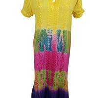 Mogul Interior Womens Summer Beach Dresses Tie-Dye Boho Aloha Rayon Dress Large: Amazon.ca: Clothing & Accessories