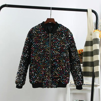 Black Sequins Pocket Zipper Cotton Jacket