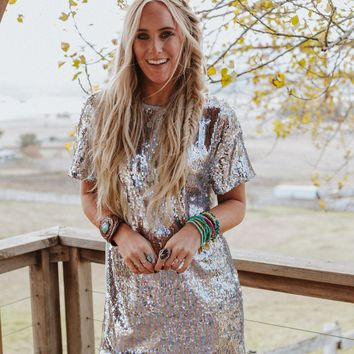 Chime Sequin T Shirt Dress - Sequin Multi