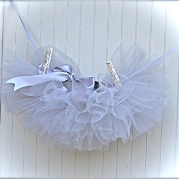 Newborn TutuGrey Silver Organza and Tulle  Teeny tiny by TutusChic