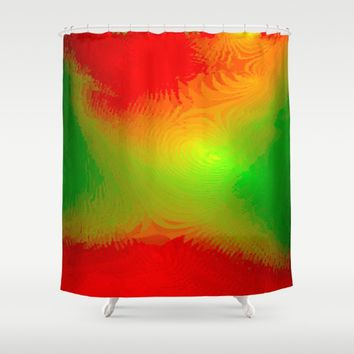 lime green and red Shower Curtain by Emma Brenton
