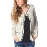 Cream knitted jacket with chunky chain trim