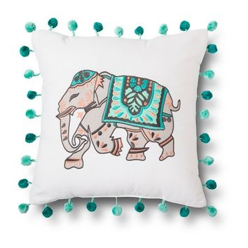 Xhilaration® Elephant Applique Decorative Pillow - White/Blue (Square)
