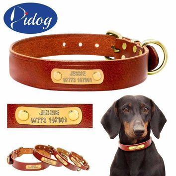 Personalized Dog ID Collar Genuine Leather Small Medium Dogs Cat Collar Custom Pet Name And Phone Number Free Engraving