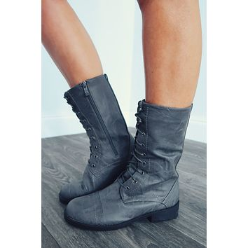 Restock: Stomping Grounds Combat Boots: Charcoal