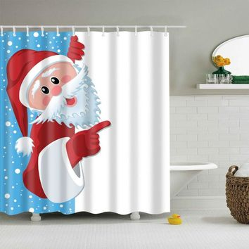 Bathroom Shower Curtains Hanging Decor Funny Festival Style Holiday Merry Christmas Happy Shower Curtain  Waterproof Polyester
