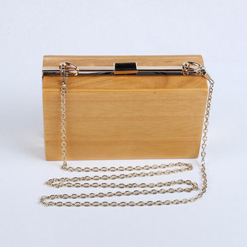 Fashion Brand Wooden Day Clutch Women Evening Bags Chain Handbags Party Wedding Purses Banquet Shoulder Bags bolsas mujer Li709