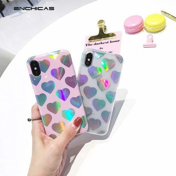Fashion Holographic Rainbow Color Laser Love Heart Soft TPU Case for iPhone X 10 8