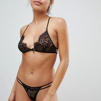 LingaDore lace racer back bra and thong set at asos.com