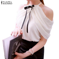 2016 Summer Style Halter Neck Bowknot Shirts Elegant ZANZEA Women Blusas Sexy Off Shoulder Blouses Casual Slim Chiffon Tops