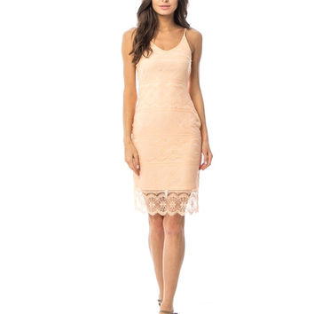 Peach Scalloped Lace Overlay Cami Stap Shift Dress