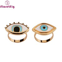 Floretfig 2pcs/lot Turkish evil eye rings jewelry bff best friends rings couple rings gold fashion Turkish jewelry designer