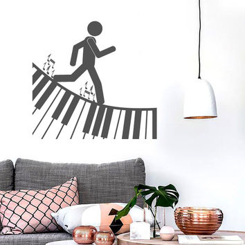 Vinyl Decal Wall Sticker Music is Life People Walk on Notes Unique Gift (n553)
