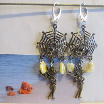 100% Natural Baltic #Amber #Earrings #Web #Spider #Silver plated yellow opaque beads free shape #souvenir #gift #present Bernstein Ohrringe