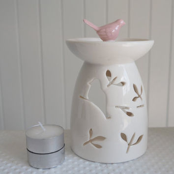 SALE Gorgeous Bird Candle Holder get 2 FREE CANDLES, Aromatherapy,diffuser for Essential Oil, oil Burner,Handmade Ceramic candle warmer,spa