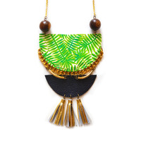 Palm Tree Wood and Brass Geometric Crescent Necklace with Tassels | Boo and Boo Factory - Handmade Leather Jewelry