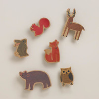 WOODLAND ANIMALS WOODEN CLIPS, 6-PACK
