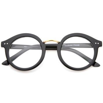Eclectic Indie Round Clear Lens Retro Glasses A033