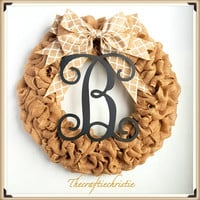 Spring Burlap Wreath-Spring Wreath-Personalized Wreath-Monogram Door Wreath-Monogram Wreath-Burlap Monogram Wreath-Rustic Wreath-Shabby Chic