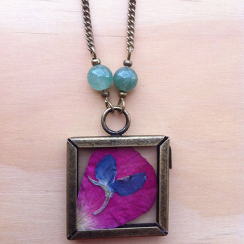 Pressed Pink and Bluebonnet Petal Window Necklace