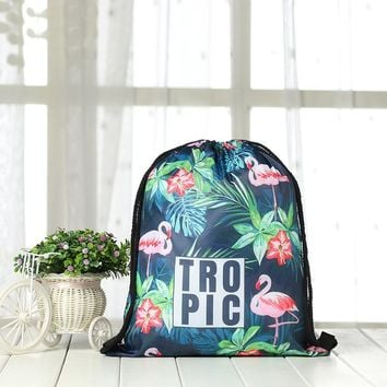 2018 New Flamingo Tropical Pattern Kid/Adlut Sport Bags Swimming Bags Gym Bag Sports swimming Drawstring Boy Girl Backpack