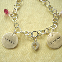 Custom-Made Sterling Silver Mother's Charm Bracelet