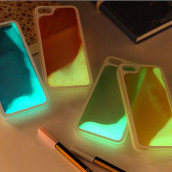 Glow In The Dark Iphone 5 6 Plus Liquid Case Running Liquid Luminous Quicksand Glitter Hard Plastic Back Case For iPhone 5 5S IPhone 6