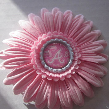 "Pink Atlanta Braves 4"" Flower Hair Clip By Sweetpeas Bows & More"