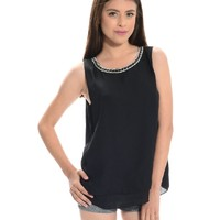 Perfect Timing Sleeveless Rhinestone Neckline Blouse Black