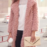 Pink Lapel Faux Shearling Fluffy Longline Coat