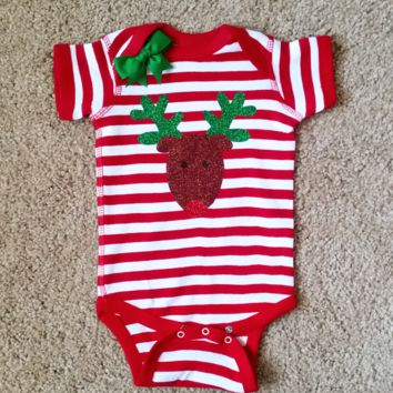 Reindeer Onesuit - Christmas Baby - Mia Grace Designs - Girls Onesuit -  Body Suit - Glitter  - Onesuit - Ruffles with Love - Baby Clothing - RWL Kids