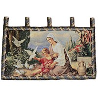 Tache 43 x 23 Mother and Child in Garden Woven Tapestry Wall Hanging (13242)