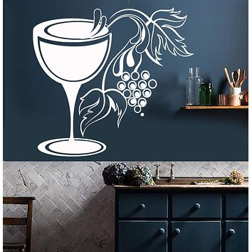 Vinyl Wall Decal Glass Grapes Wine Shop Kitchen Decor Stickers Unique Gift (828ig)