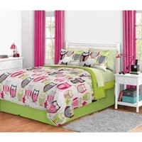 8pc Girl Green Pink Owl Zebra Bird Twin XL Dorm College Comforter and Curtain Set (8pc Bed in a Bag):Amazon:Home & Kitchen