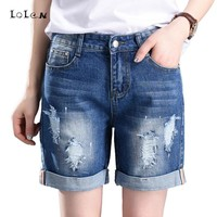 Plus Size Denim Shorts Straight Loose Hole Jeans for Women 55-100kg