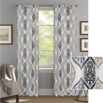 "Better Homes and Gardens Damask Ogee Curtain Panel, Charcoal, 52"" x 84"""
