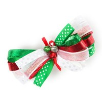 Holiday Ribbon Bow Barrette with Jingle Bells  | Claire's