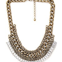 FOREVER 21 Chain & Rhinestone Bib Necklace Gold/Clear One