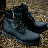 "Timberland 6"" Premium Waterproof Boot - Black Leather 