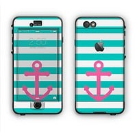 The Teal Striped Pink Anchor Apple iPhone 6 LifeProof Nuud Case Skin Set