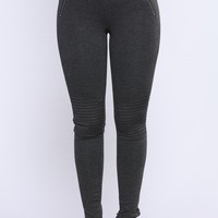 Baddie Club Ponte Motto Leggings - Charcoal
