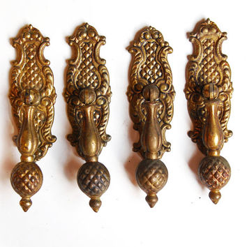 FREE SHIPPING Vintage Antique Ornate Brass Spanish Drop Pulls, Set of 4, E963