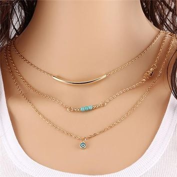 1pc New Hot Unique Charming Gold Tone Bar Circle Lariat Necklaces Women Multilayer Chain Necklaces Femme Party Jewelry