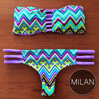 MILAN - Handmade Reversible Brazilian Bikini Bottom with Reversible Bandeau Strap Top