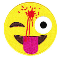XXL Cute & Funny Headshot Emoji Smiley Smile Face Patch 8.5 inches 21.6cm Applique