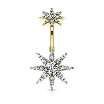 CZ Paved Starburst with Internally Threaded CZ Starburst Top 316L Surgical Steel WildKlass Belly Button Navel Rings